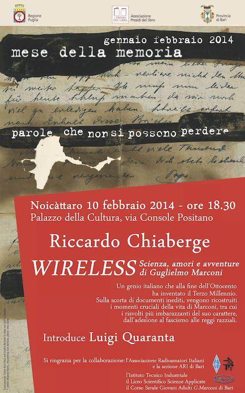 """Presentazione libro """"Wireless"""" di Riccardo Chiaberge – Noicàttaro (BA) 10 febbraio 2014"""
