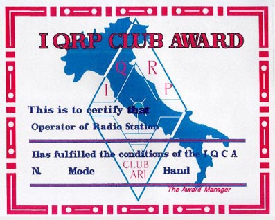 I.Q.C.A. – Aj QRP Club Award
