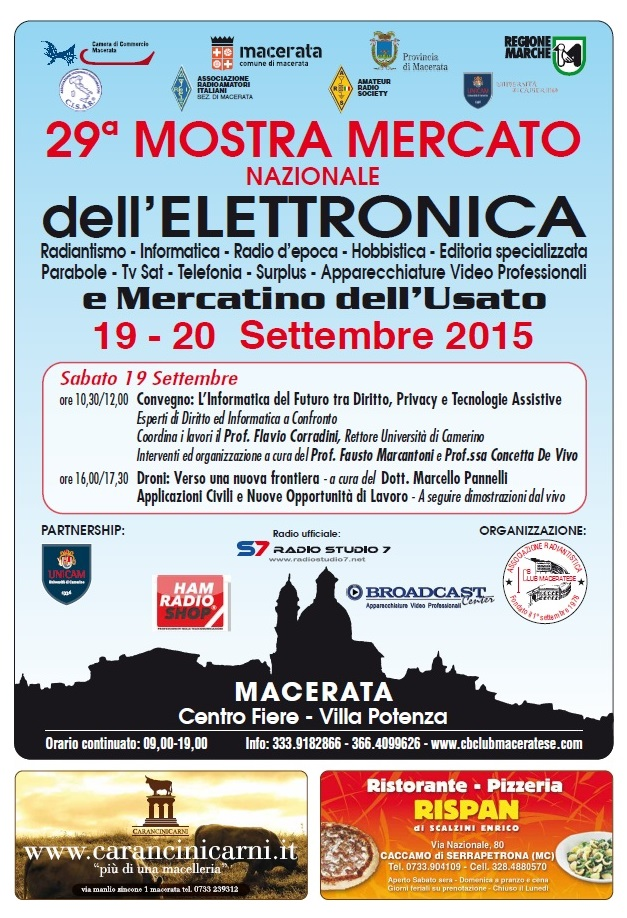 29a Mostra Mercato Nazionale dell'Elettronica: Macerata 19-20 September 2015