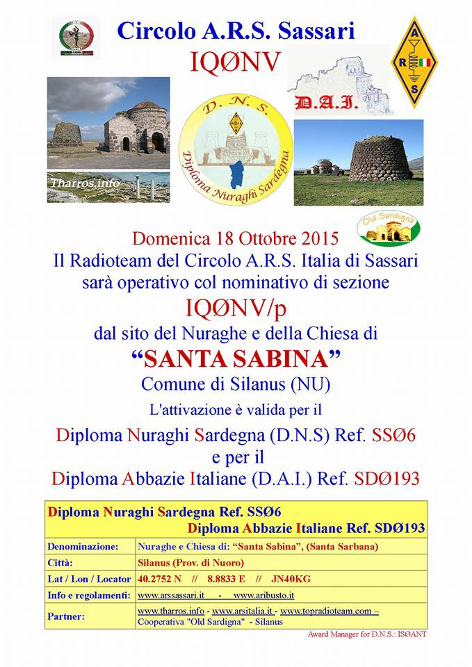 IQ0NV/p On Air dal sito di Santa Sabina (NU)
