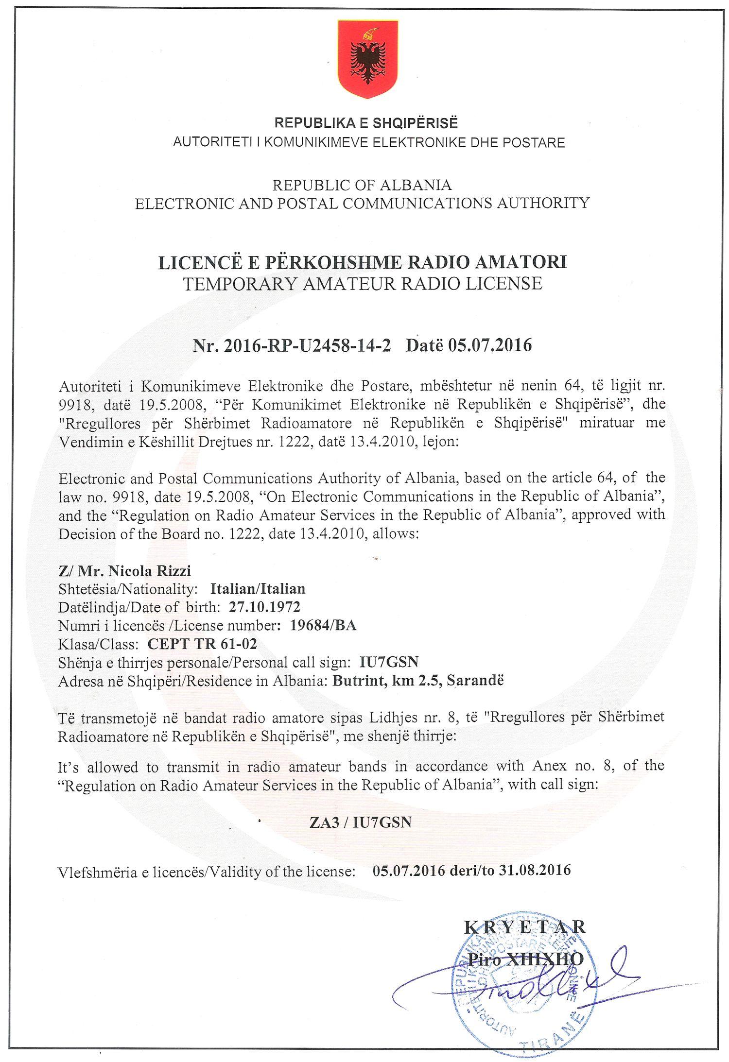 Licenza IU7GSN-
