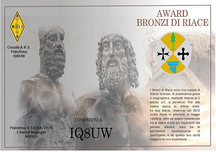 Bronzi di Riace Award dal 13 al 19/4 2020