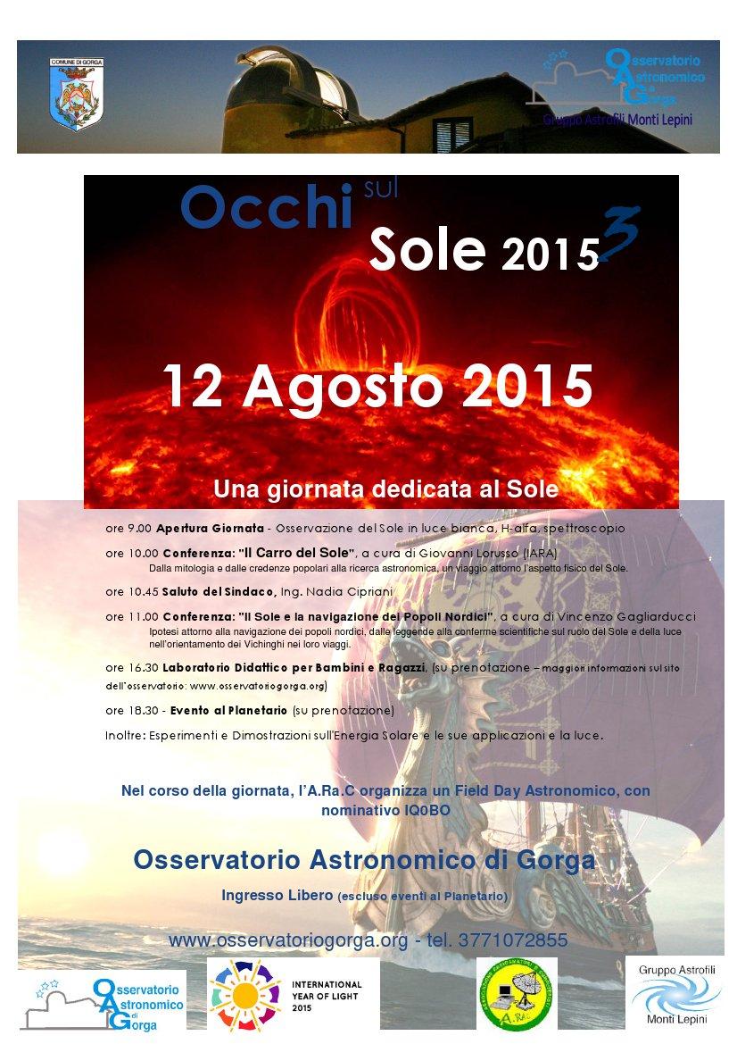 Occhi sul Sole 2015 – 12 agosto a Gorga (RM)